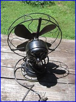 12 Antique General Electric/GE Brass Blade STATIONARY Desk Fan Model AUU