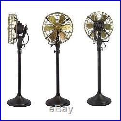 12 Brass Blade Electric Floor Stand Fan Oscillating Vintage Metal Antique style