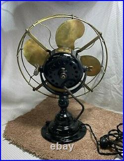 12 Emerson 19646 fan c. 1914 Original condition brass blades/brass cage