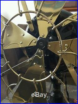 16 Brass bladed Emerson Trojan 5320 antique electric fan. Runs strong