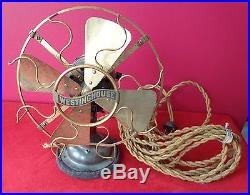 1910 WESTINGHOUSE ANTIQUE ELECTRIC FAN WITH BRASS BLADES & CAGES PAT'D
