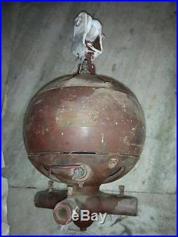 1910s DAYTON ANTIQUE CAST IRON DC ELECTRIC CEILING FAN w CRESCENT WOODEN BLADES