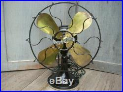 1914 WESTINGHOUSE ELECTRIC CO. 12 Brass Blade Fan Oscillating 3 Speed Works