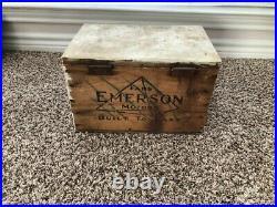 1930 Working Antique Emerson 32 Six-Blade Ceiling Fan Motor & Wood Emerson Box