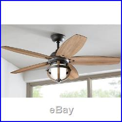 52 in. Noah Forged Iron Vintage Wood Blades Antique Electric Light Ceiling Fan