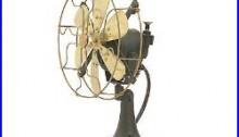 8Blade Electric Table Desk Fan Oscillate Orbit Work Vintage Metal Brass Antique
