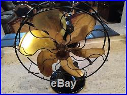 Antique 1929 71666 Emerson 12 6 Brass Blade Fan See All Pic