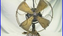 ANTIQUE 5 SPEED GENERAL ELECTRIC PANCAKE FAN With BRASS BLADE CAGE ESTATE FIND