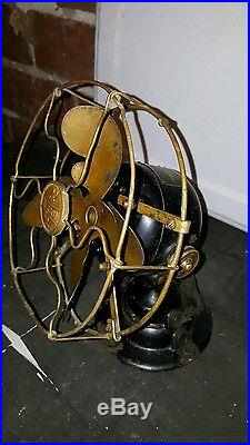 Antique Emerson Model 14644 Brass Blade Cage Electric Table Fan