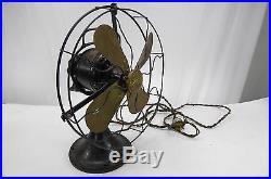 ANTIQUE! Retro Vintage GE General Electric Industrial Brass Bladed Fan Whizfan