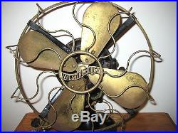ANTIQUE WESTINGHOUSE BRASS CAGE & BLADE ELECTRIC FAN