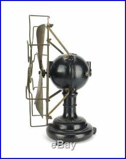 Antique 12 Ball Motor Holtzer Cabot Electric Desk Fan Brass