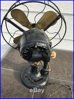 Antique 12 Brass Blade Western Electric Hawthorn Double Lever Fan