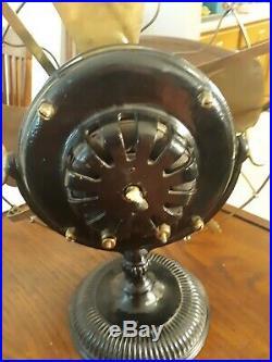 Antique 12 GE Type UI Form e Fan BRASS BLADES & CAGE Yoke-Mount pancake motor