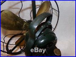 Antique 12 General Electric GE AOU 75423 3 Speed Desk Fan Brass Blade