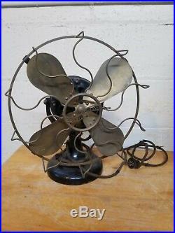 Antique 12 in. Westinghouse Brass 4 Blade Wavy Cage Fan
