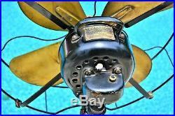 Antique 16 Brass Blade Fan Emerson Electric 73648 All Original Running