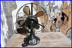 Antique 1900's Brass Blade Hunter Electric Fan