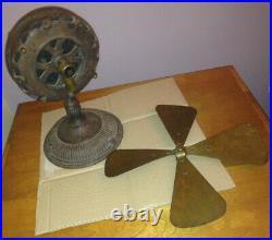 Antique 1900's Rare Canadian General Electric Pancake Motor Desk Fan 12 Brass
