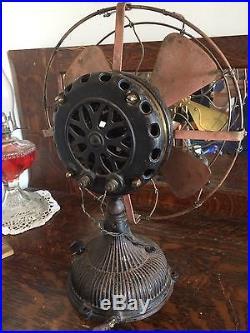 Antique 1901 Ge Pancake Electric Brass Fan Original