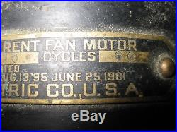 Antique 1901 General Electric GE 3 SPEED Motor Brass 12 SIX Bladed Fan, AS IS