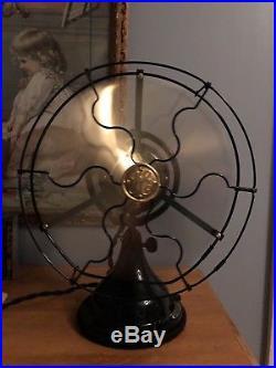 Antique 1915 GE 9 Brass Blade 2 Speed General Electric Fan RESTORED
