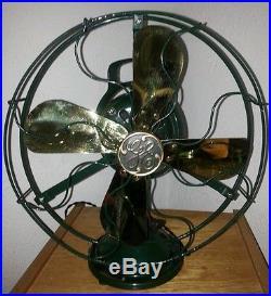 Antique 1917 GE 2 Star 12 Brass Blade Fan