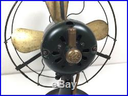 Antique 1920s General Electric GE WHIZ 4 Brass Blade Fan WORKS GREAT