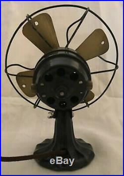 Antique 1920s Polar Cub Fan, Type H electric cast iron art deco, 7 Works