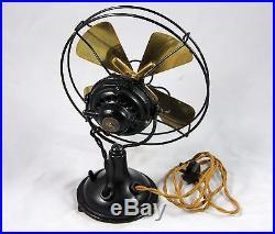 Antique 7.5 Fidelity Electric Cast Iron & Brass Fan Unrestored Rare! Nice