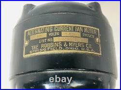 Antique 8 Robbins & Myers 1801 Brass Blade And Cage Desk Fan Parts Or Repair
