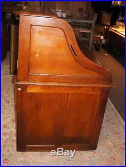Antique Arts + Crafts Serpentine Roll Top Panel Desk Office Study Executive Oak