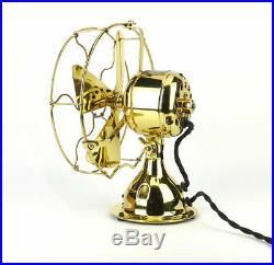 Antique Beautifully Restored 1911 Emerson Trojan 8 All Brass Desk Fan