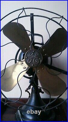 Antique Brass Blade 12 GE Loophandle Fan WORKS GREAT