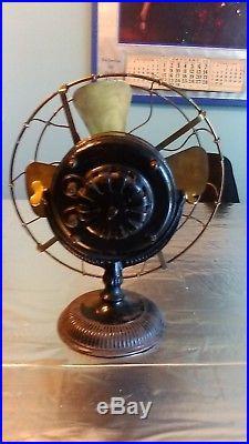 Antique Brass Blade & Cage GE General Electric Pancake 1898 Fan Fancy Iron Base