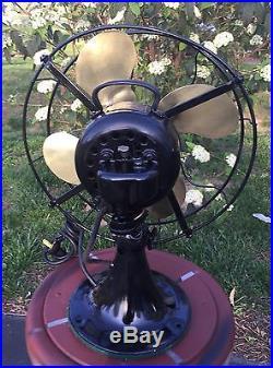 Antique Brass Blade Emerson Fan Model 29646 Oscillating 3 Speeds Circa 1922