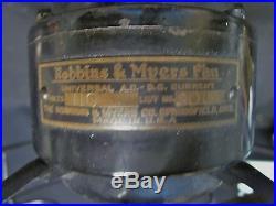 Antique Cast Iron 3 Speed Robbins & Myers Brass Blade Fan 10