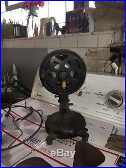 Antique Cast Iron snowflake Menominee Brass cage fan 4 Speed