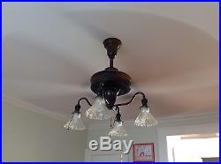 Antique Century Cast Iron Electric Ceiling Fan with Lights NICE Pat. 1914