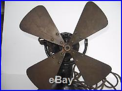 Antique Colonial Direct Current Tab Foot 4 Brass Blade Electric Fan No Reserve