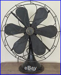 Antique Command-Air Electric Fan Green Paint 3 Speeds Works 16 Large Size