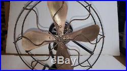 Antique Desk Fan WORKS GREAT Brass Blade Art Deco