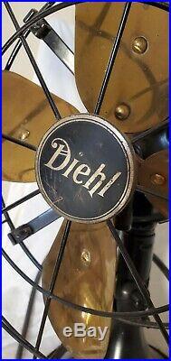 Antique Diehl 12 brass bladed fan Cat No. K12012-1