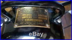 Antique EMERSON 12 Brass Blades, 3 Speed, Osillating Fan 29646