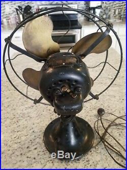 Antique EMERSON Oscillating Fan 12 Brass 3 Speed RUNS Parts Restore Pls Read