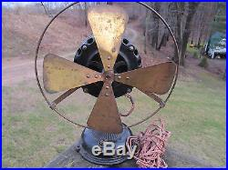 Antique Early 1900's General Electric GE 4 Brass Blade Pancake Fan