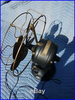 Antique Early 1902 Era General Electric GE Brass 6 Blade Fan Model 752253. WORKS