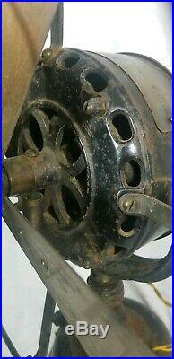 Antique Early General Electric Fan Pancake Motor 16 Brass Blade Type A K Form B