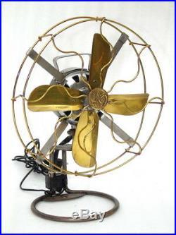 Antique Electric 10 inch Brass Mesh Table Fan Vintage Interior Decoration Art