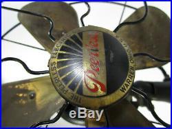 Antique Electric Fan Brass Blade Peerless Vintage Old Great Original Works